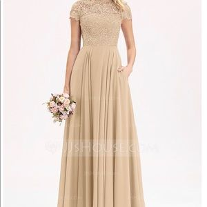 Champagne colored bridesmaid dress